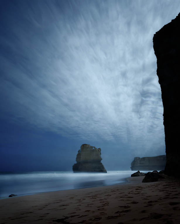 12 Apostles Sea Stacks - streaky cloud look by sequential shots