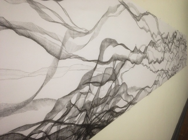 6m long continuous charcoal lines, representing collections of memories in time, Left to Right, by Ljerka Nenadovic
