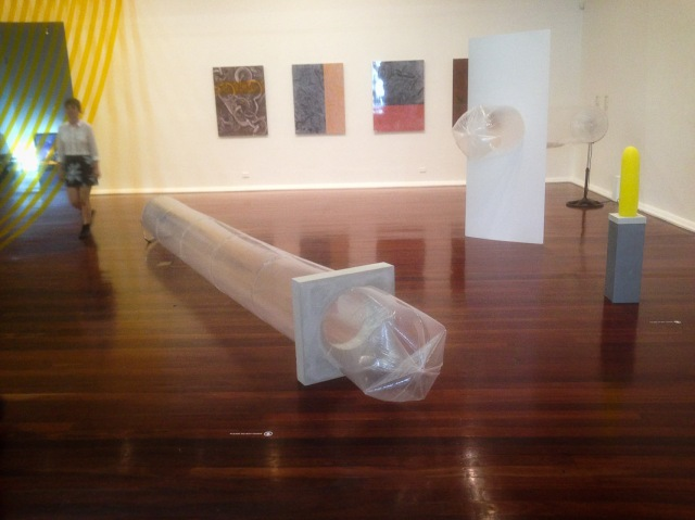 Inflated plastic bags in tension with solid objects, ][  2  [n]    by Rachel Schenberg