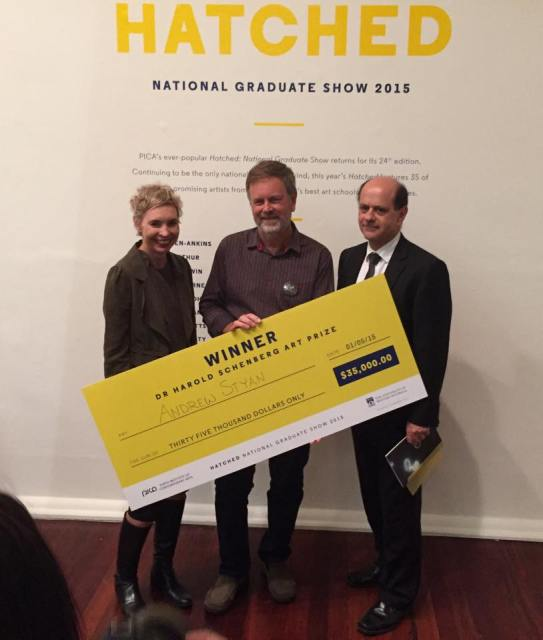 Receiving my novelty cheque, with PICA Director Amy Barrett-Lennard and Dr. Schenberg Trustee Nick Di Lorenzo